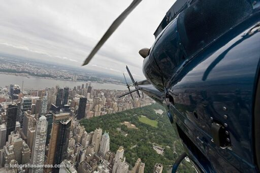 Central Park, Manhatan, Nova York. Vista do helicóptero 1.